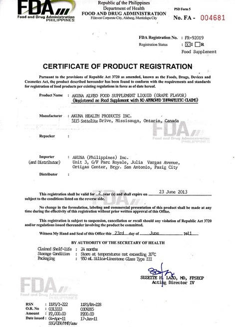 Certificates - INDEPENDENT DISTRIBUTOR